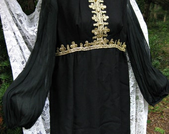 Black Prom dress, Metallic Gold dress, FRENCH Baroque look Sheer Sleeves Gold Black dress, 60s 1960s dress, Cocktail Party formal dress