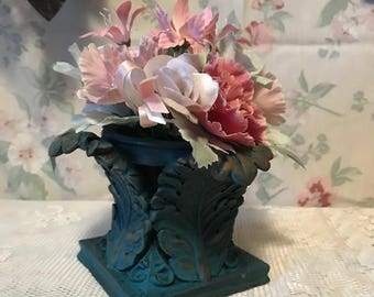 Gothic Victorian Turquoise Pillar Taper Candle Holder