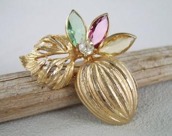 Vintage Brooch, Gold Brooch, BSK Brooch, Pastel Rhinestones, Rhinestone Brooch, Botanical Brooch, Fruit Brooch, Figural Pin, Mid Century