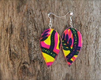 African fabric earrings, pink and yellow earrings, large colorful jewelry, lightweight earrings, African earrings, african jewelry, eclectic