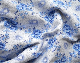 vintage french fabric blue roses antique french fabric patchwork fabric quilting fabric blue floral fabric 4