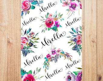Custom blanket, newborn gift, floral baby blanket, personalized baby blanket, baby shower gift, baby girl, swaddle blanket, baby girl gift