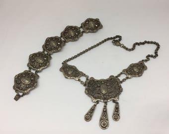 Vintage Mid Century Demi Parure Set of Matching Necklace and Bracelet - silver metal, ornate 'Byzantine' wirework decoration