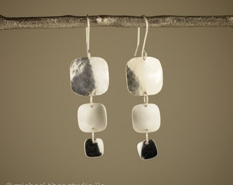 Trio earrings, classic dangles with hammered, satin, and polished cushion shapes, sterling silver dangles