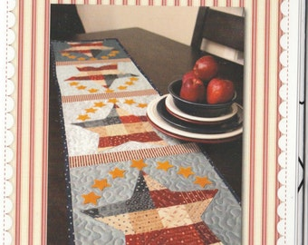 Patchwork Patriotic Table Runner - Pattern - by Shabby Fabrics - Stars