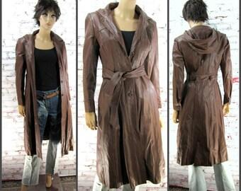Leather Coat, brown Leather Coat, Vintage Leather Coat,elegant coat ,   #99