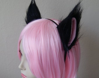 Black Long Fur Kitty Cat / Fox / Wolf Cosplay Ears Set + Black 3mm Metal Headband (Clip Convertible)