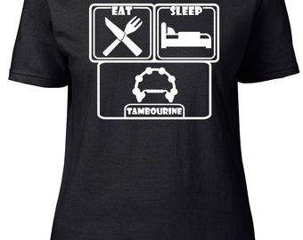 Eat. Sleep. Tambourine. Ladies semi-fitted t-shirt.