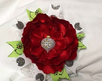 Silver and Red Ornament Rose Christmas Hair Bow