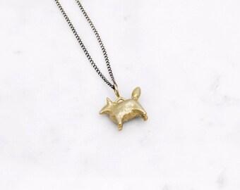 Dog Amulet necklace - brass