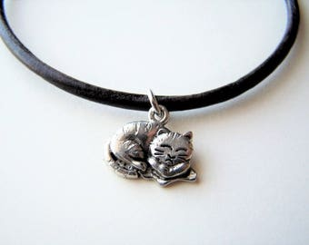 Sleeping Cat Charm Anklet on a Leather Cord by Ankletgypsy