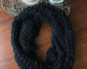 Black Knit Infinity Scarf