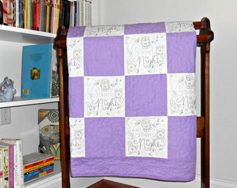 Purple Baby Quilt, Baby Girl Quilt, Purple and White Owl 'Good Night' Embroidered Baby Quilt, Owl Quilt Purple White, Baby blanket