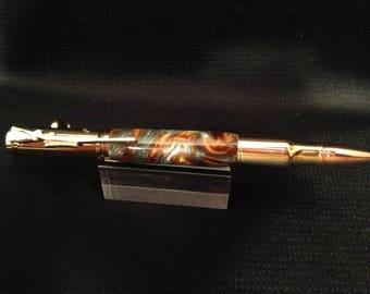 Gold 30 Caliber Bolt Action Pen with Molten Metal Acrylester