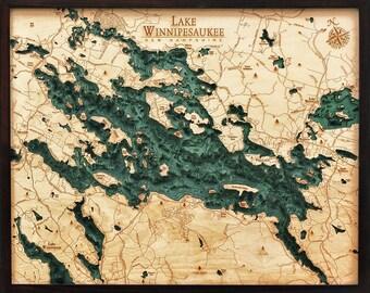 Lake Winnipesaukee Wood Carved Topographic Depth Chart / Map