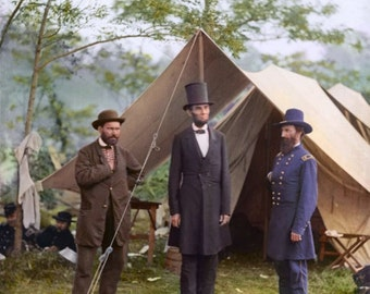 President Abraham Lincoln at Antietam in 1865 - Colorized.
