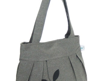 Organic and Recycled Handmade Sophisticate Shoulder Purse Gray Mix / Black Leaves - Free Shipping