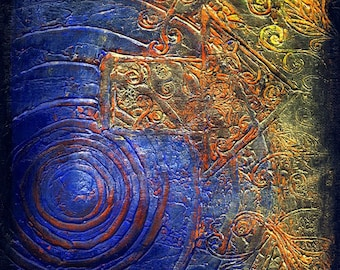 Migration - Original Abstract Textured Painting on Canvas 8 x 8 inch / Deep Blue / Orange / Olive / Silver / Gold / Bohemian Decor / Spiral