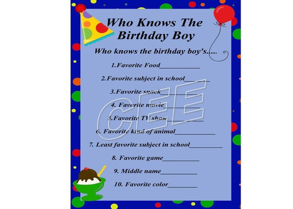 Birthday party game party game for boy printable birthday stopboris Images