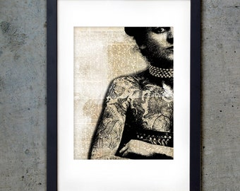 Tattooed Lady - PRINTABLE - Art Print 5 X 7 - Vintage Tattoos Downloadable Digital