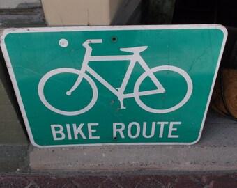 Vintage Metal Sign - Bike Route - Nantucket
