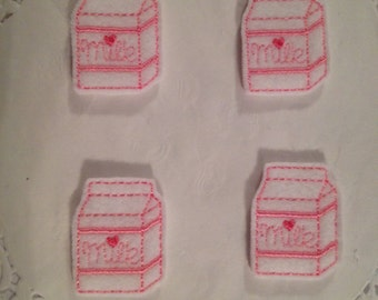 Embroidered Felt  Milk Carton Mini Applique-Set of 4