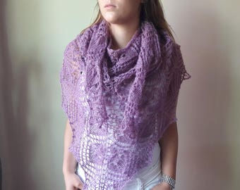 Lace shawl mohair yarn,  Lila, Lavender, hand knitted, triangular shawl
