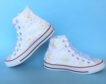 Wedding Converse shoes, Bridal Converse high top lace Converse, Custom Converse bride shoes, Wedding chuck taylors Wedding trainers Converse