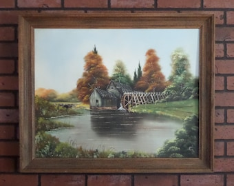 Mabry Mill Oil Painting, Signed 1970's Autumn on the Blue Ridge Parkway Virginia, Custom Frame