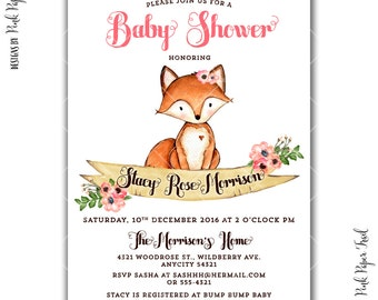 Rustic Sweet Woodland Invitation, Woodland Animals, Baby Shower, Birthday, Bridal Shower, I will customize for you, print your own