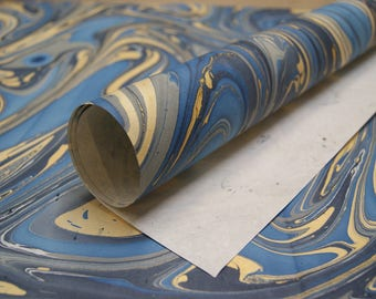 Blue Cream Marble print on cream handmade Wrapping Paper gift wrap set of two large sheets