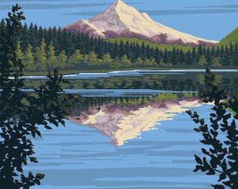 Mount Hood from Lost Lake, Oregon - Lantern Press Artwork (Art Print - Multiple Sizes Available)