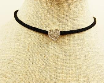 Heart Choker, Black Faux Suede Choker, Heart Charm, Gold Heart, Gift for Her, Retro Jewellery