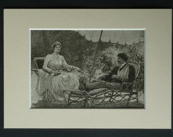 1890s Antique Leisure Print, Available Framed, Victorian Art, 19th Century Gift for Her, Sunbathing Wall Art, Portrait of Lady, Sun Lounger