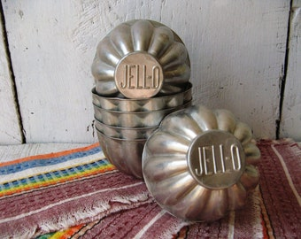 Lot of 6 Vintage Aluminum Jello Molds Cottage Farmhouse Many Ways to Repurpose