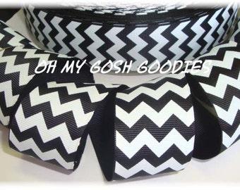 "BLACK WHITE CHEVRON grosgrain ribbon - 1.5"", 2 1/4"", 3"" widths - 5 Yards - Oh My Gosh Goodies Ribbon"