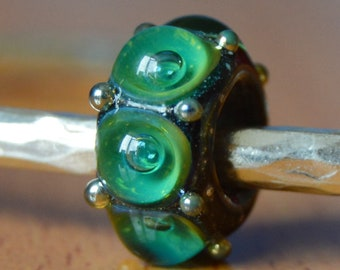 REDUCED - Unique Handmade Lampwork Glass European Charm Bead - SRA - Fits all charm bracelets - Silver Core Options