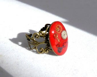 Red steampunk ring