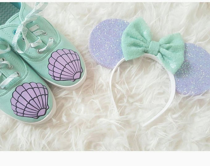 Mermaid Mouse Ears || Mermaid lagoon Minnie Ears || Mouse Ears Headband || Minnie Mouse Ears || Sparkle Mouse Ears || RTS