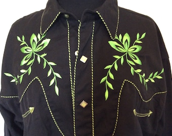 Western Black & Green Cowboy Shirt - XL