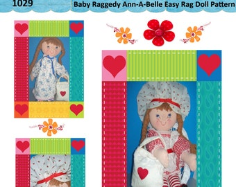 """Easy Cloth Rag Doll PDF Pattern Kitty from the Country 18"""" Rag Doll Pattern- Easy Beginner PDF Sewing Patterns by Peekaboo Porch"""