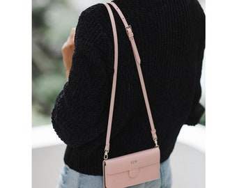 CrossBody Bag with Phone Case - iPhone 6 Plus - Genuine Pebbled Leather - Blush Pink