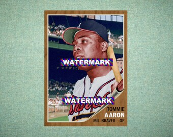 """Tommie Aaron Milwaukee Braves, ORIGINAL """"Card That Could Have Been"""" by MaxCards, 1962 Style Custom Baseball Card 2.5 x 3.5 MINT 2018"""