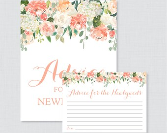 Peach Advice for the Newlyweds Bridal Shower Activity - Printable Floral Bridal Shower Advice Cards and Sign - Peach Bridal Shower 0028