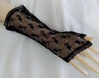 Black fingerless gloves, Rhinestone wedding gloves, Bridal gloves, Lace gloves, Long gloves, Opera gloves, Elbow length gloves, Lace mittens