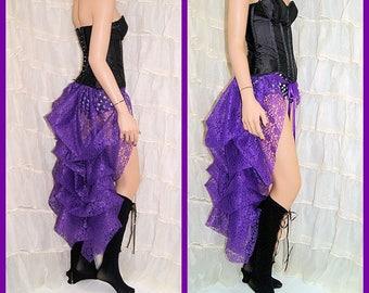 Shimmery bright Purple Lace Bustle Wrap festical dance wear showgirl formal layering MTCoffinz - All Adult Sizes