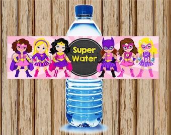 INSTANT DOWNLOAD- Girls Superhero Water Bottle Labels- Super Hero Water Bottle Labels- Pink Superhero Birthday Party- Girls Superhero Labels