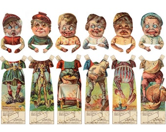 Printable Antique Brownies Paper Dolls Changeable Heads Instant Digital Download