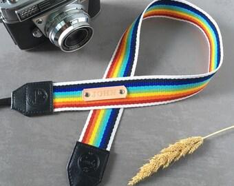 Rainbow DSLR camera strap,Rainbow Camera Strap, leather camera Strap ,