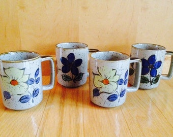 vintage stoneware coffee mugs / set of four